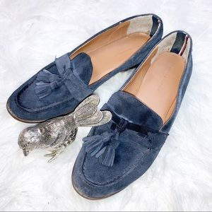 Tommy Hilfiger Sonya Navy Swede Penny Loafers Sz8M